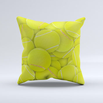 Tennis Ball Overlay  Ink-Fuzed Decorative Throw Pillow