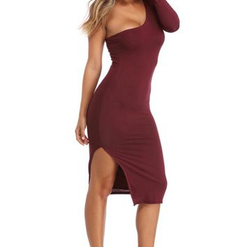 Burgundy One Up Midi Dress