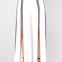 Catalina Wide Slit Pants - White/Black