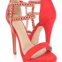 Red Chain Strappy High Heels Faux Suede