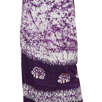 Batik Bohemian Wrap Skirts Embroidered Purple Wrap Around Maxi Long Skirts