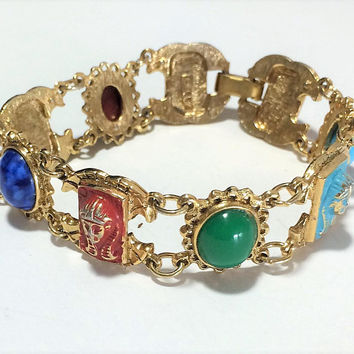 Signed ART Egyptian Revival Bracelet, Painted Enamel Pharoah Heads, Lucite Faux Stone Cabochons, Gold Tone, Mid Century Era 718m