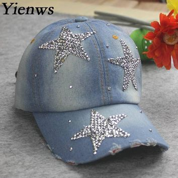 Yienws Women Jeans Casquette Wash Do Old Baseball Crystal Rhinestone Bone Masculino Hats Cap Curved C586