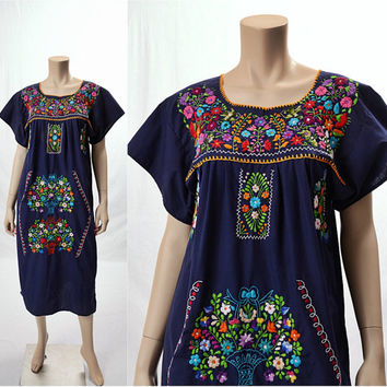 Vintage 70s Mexican Embroidered Hippie Dress 1970s Navy Blue Rainbow Flowers Birds Festival Oaxacan Boho Gypsy Caftan Dress size S-M