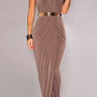 Coffee Halter Side Slit Dress with Belt