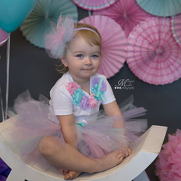 Tutu Outfit - Baby Tutu Set - Birthday Outfit - Pink Teal Purple - Headband Onesuit T-shirt - Photo Prop - Baby Girl - First Birthday Outfit