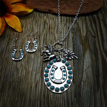 Horseshoe Charm Long Necklace