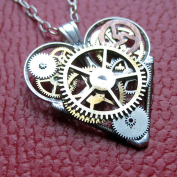 "Mini Watch Heart Necklace ""Charmed"" Elegant Industrial Heart Pendant Steampunk Sculpture Gershenson-Gates Mechanical Mind Fall Autumn"