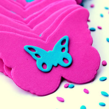 Set of 16, Blue and Pink Butterflies, Birthday Party Favors, Baby Shower, Wall Decorations, Butterflies, butterfly wall, wall decor, Art