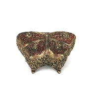 Ornate Gold Butterfly Trinket or jewelry Box