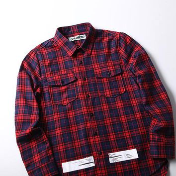 2017 Off White Red Lattice Long-sleeved Shirt M---XXL