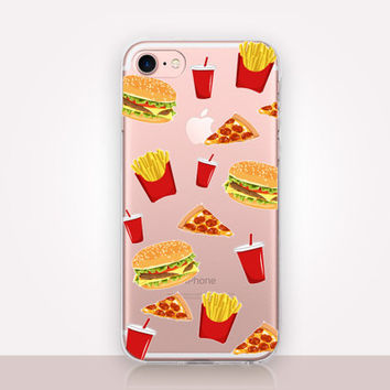 Fast Food Clear Phone Case- Transparent Case - Clear Case - Transparent iPhone 7 - Clear iPhone 7 Plus - Gel Case -  iPhone SE