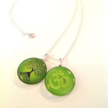 Green Yoga Zen Pendants - Tree of Life and Om Pendants on Silver Chain