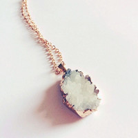 Rose Gold Plated White Cluster Necklace