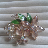 green and beige crystal flower rhinestone goldtone  brooch  pin