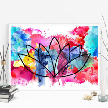 Lotus Flower Art - Yoga Artwork - Zen Wall Art - Lotus Flower Decor - Watercolor Yoga Art - Meditation Art - Watercolour Print