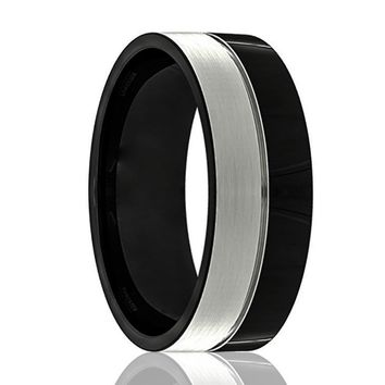 Mens Wedding Band - Tungsten Wedding Band - Black Tungsten Polished Silver Brushed Center Groove - Tungsten Wedding Ring - Man Tungsten Ring - 8mm