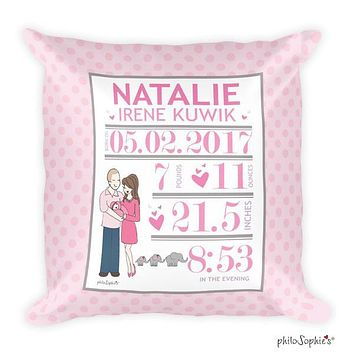 Elephants and Polka Dots Baby Announcement Pillow