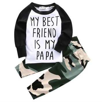 """My Best Friend Is My Papa"" 2 Piece Camo Set"