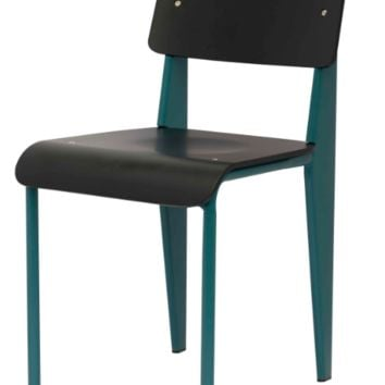 Prouve Style Side Chair - Black and Teal