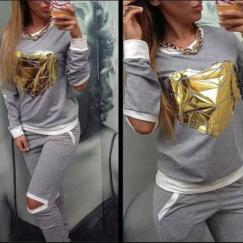 Gold Heart Hollow Out Tracksuit
