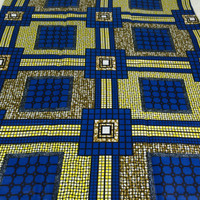 Made in Mali--African Wax Print Fabric--Ankara Fabric--Royal Blue/Yellow/Olive Green Grids--African Fabric by the HALF YARD