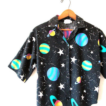 Vintage 1990s SPACE Solar System PLANETS Astronomy Button Down Shirt Kids Sz 12 Adult Sz S