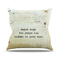 "Robin Dickinson ""Reach High"" Brick Wall Outdoor Throw Pillow"