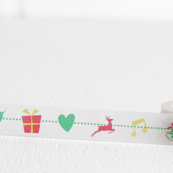 Christmas Garland Washi Tape, Reindeer Bell Wrapped Gift Holiday Packaging, Gifts Under 5, 15mm