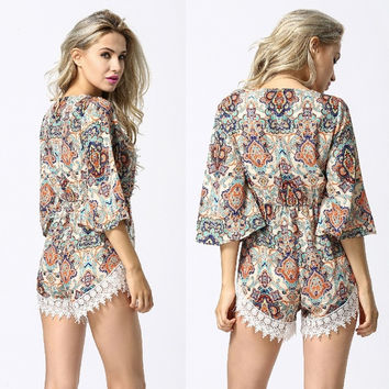Sexy Women Boho Batwing Sleeve Lace Waisted Jumpsuit Playsuit [4905534084]