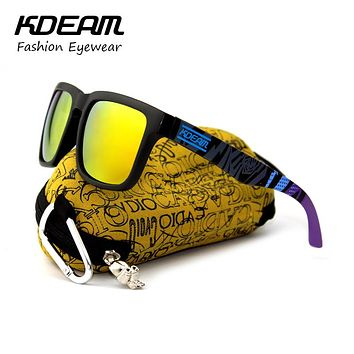Summer Sunglasses Men Reflective Coating Square Sunglasses Women Design Mirrored With Peanut Hard Case