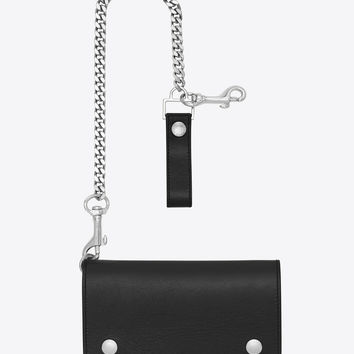 Saint Laurent Rider Saint Laurent Pocket Chain Wallet In Black Leather | ysl.com