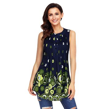 Z| Chicloth Navy Green Floral Print Flowy Tank Top