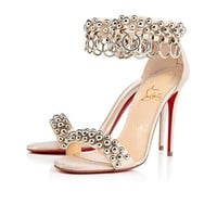 Christian Louboutin Gypsandal 100MM Lame Poudre Calf High Heels