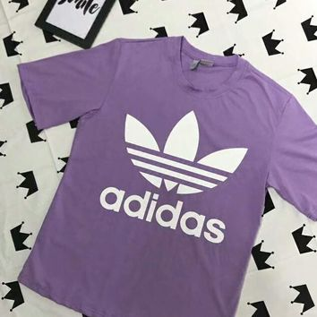 Adidas Stylish Summer Fresh Big Logo Print Short Sleeve T-Shirt Top Purple I-AG-CLWM