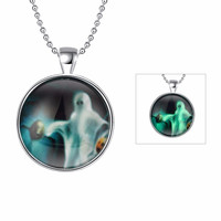 Carnival Jewelry Ghost Series Luminous Neclace Fluorescence Noctilucent Skull Pendant Necklace for Halloween