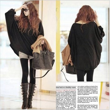 2015 New Korean Design Printed Women Sweater Loose Pullovers Batwing Tops Shirt Long Sleeve Knitted Pull Femme Women Casual Wear (Size: L, Color: Black) = 1945798852