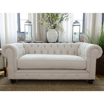 Estate Chesterfield Style Fabric Loveseat Seashell