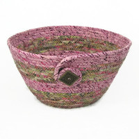 Coiled Fabric Bowl, Basket, Raspberry