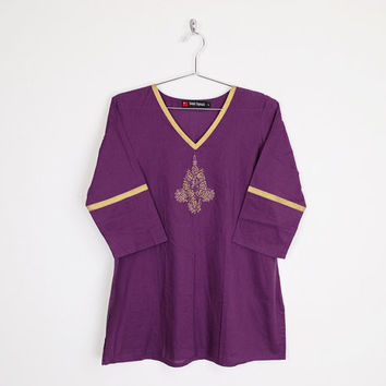 purple tunic top, india tunic, india top, india shirt, india blouse, india embroidered tunic, india embroidered top, 70s hippie top, l