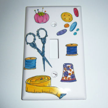 Sewing themed single light switch cover
