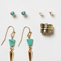 AEO Women's Turquoise Earring Trio (Mixed Metal)