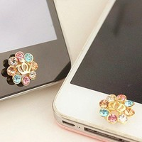 Rhinestone Crown Home Button Sticker for iPhone 4,4s,5 from LOOBACK