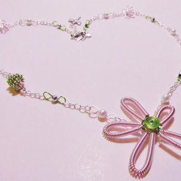 Pink Green and Silver Wire Wrapped Necklace Flower by Starfall