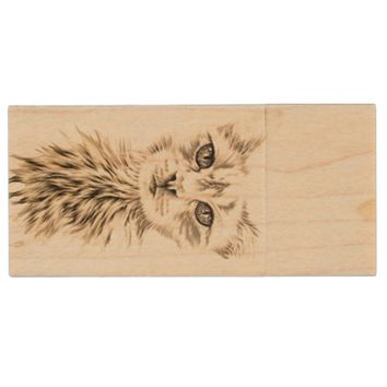 White Cat Animal Drawing of Chic Pet Portrait Wood Flash Drive