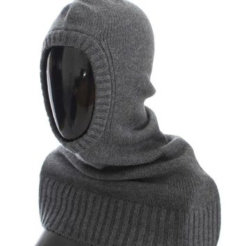 Gray Cashmere Knitted Hood Scarf Hat