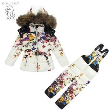 2017 Autumn and Winter New Girl Ski Suit Down Clothes of Girls Children Cloth Kids Outwear Coat Belt Pants for Baby Girl