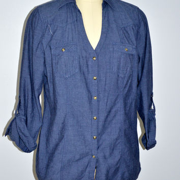 Pure Energy Size 2 Denim Snap Front Shirt Roll Tab Sleeve XL 2X