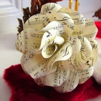 Christmas Sheet Music Rose Ornaments to Decorate Your Wreath, Garland, Tree, Gifts  Set of 3