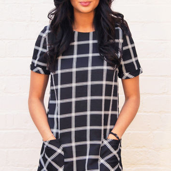 Monochrome Pocket Shift Dress with Grid Print in Black with White